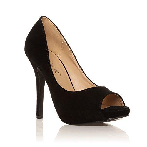 TIA Black Faux Suede Stiletto High Heel Platform Peep Toe Shoes