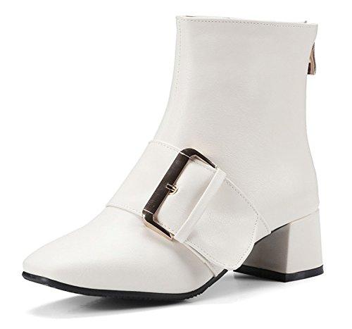 Avec Aisun Bottines Low Blanc Boucle Talons Femme Mode Boots Bloc qpAqwxr