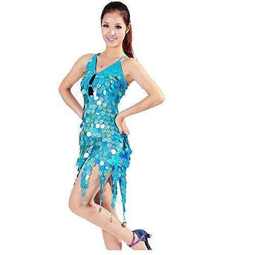Für Dance Line Kostüm Verkauf - Damen Kleid Ladies Dancewear Backless Sleeveless Circle Coins Pailletten Quasten Ballsaal Samba Tango Latin Dance Kleid Wettbewerb Kostüme Minikleid (Farbe : Blauer See, Größe : Einheitsgröße)