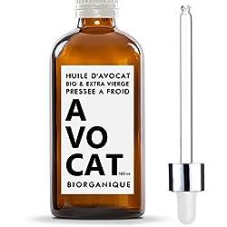 Olio di Avocado 100% Biologico, Pure, Naturale e Spremuto a Freddo - 100 ml - Cura per capelli, corpo, pelle
