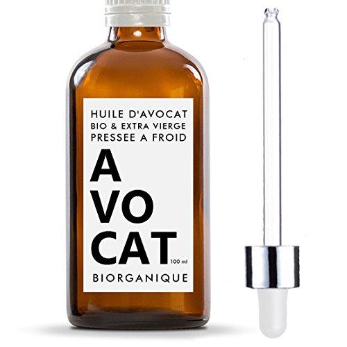 Huile d'Avocat 100% Bio, Pure, Naturelle et Pressée à froid - 100 ml - Soin pour Cheveux, Corps, Peau