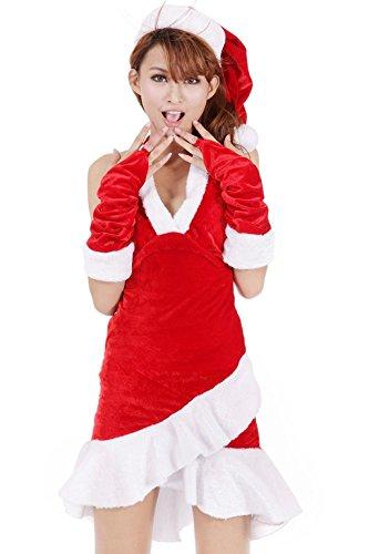 MFFACAI Frauen Sexy Weihnachtsmann Kostüm Rot und weiß Anzug Schulterfrei Weihnachten Kostüm Outfit Weihnachten Cosplay