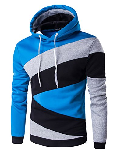 YouPue Uomo Contrasto di colore Con Cappuccio Casual Maglione Camicia Felpa Blue Lake