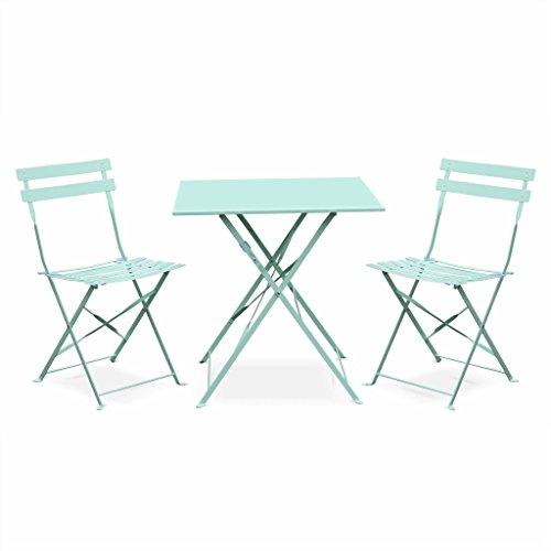 Alice's Garden - Salon de Jardin bistrot Pliable - Emilia carré Vert d'eau - Table 70x70cm avec Deux chaises Pliantes, Acier thermolaqué
