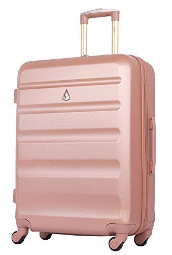 41I69lXQ7bL - Aerolite - Súper liviano, 3 piezas, equipaje de viaje rígido, maleta de viaje, con 4 ruedas (3 piezas, oro rosa)