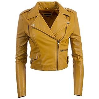 MDK Damen Ultra Stilvoll Hochwertig Echtes Leder Kurze Mode Jacke