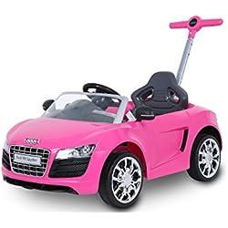 ROLLPLAY Voiture à Pousser Évolutive avec Repose-Pieds Réglables, À partir de 1 An, Jusqu'à 20 kg, Audi R8 Spyder, Rose