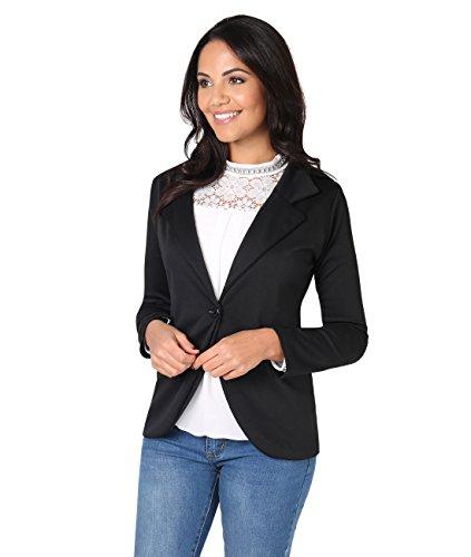KRISP Smart Casual Stoff Fashion Blazer (Schwarz, Gr.46) (Das Ist Nicht Mein Business Kostüm)