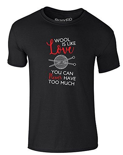 Brand88 - You Can Never Have Too Much Wool, Erwachsene Gedrucktes T-Shirt Schwarz/Weiß