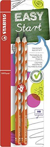 Matita Ergonomica triangolare - STABILO EASYgraph per Destrimani in Arancione - Pack da 2 - Gradazione HB