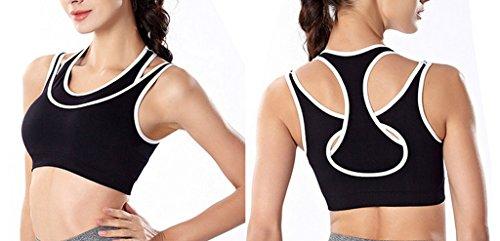 Smile YKK Soutien-gorge de Sport Femme Brassière Sans Armature pour Fitness Yoga Running Sculpant Noir