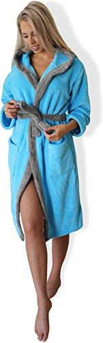 Bademantel mit Kapuze Damen Herren, Morgenmantel weich und super flauschig, Coral Fleece Saunamantel lang, in den Größen XS bis XXXL Farbe Blau/Silber Größe M