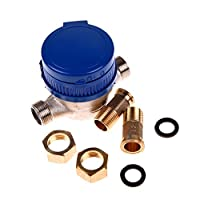UEB Cold Water Meter, 15Mm 1/2 Inch Cold Water Meter Of Cubic Meters For Garden & Home Using Or Metering Applications With Free Fittings