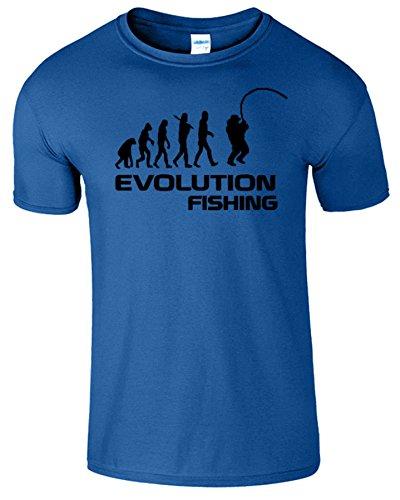Fishing Evolution Komisch Geburtstag Geschenk Herren T-Shirt Royablau / Schwarz Design