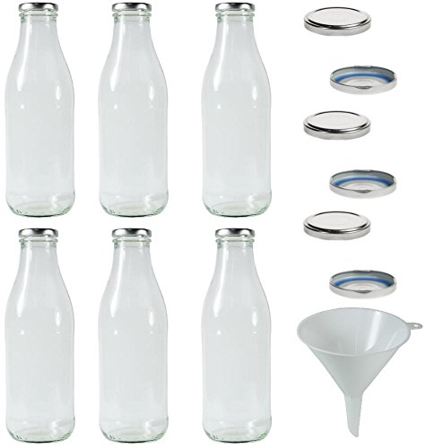 6 x Milchflaschen 1 Liter mit 12 x PVC freiem Schraubverschluss Silberfarben Zum Selbst befüllen, inkl. Trichter Ø 12 cm