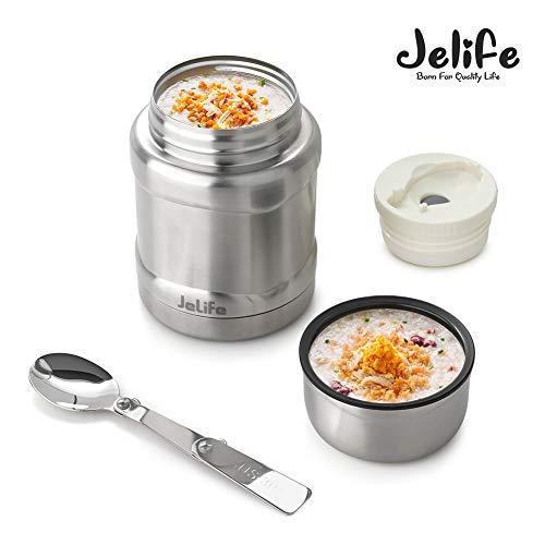 Jelife Thermos per Alimenti Barattolo per Alimenti sottovuoto di Acciaio Inossidabile con Un Cucchiaio Pieghevole per Zuppa-450ml