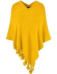 Ferand Damen Gemütlicher Warmer Poncho Pullover mit Mehrweg-Ausschnitt und Süßen Bommeln