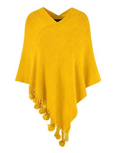 Ferand Damen Gemütlicher Warmer Poncho Pullover mit Mehrweg-Ausschnitt und Süßen Bommeln, One Size, Gelb