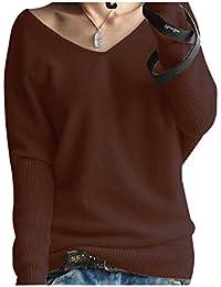 LongMing Damen Mode Kaschmir Pullover Sexy lose Große langen Ärmeln V- Ausschnitt Fledermausflügel Herbst und bbe9ae12b0