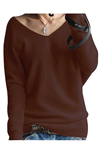 89ed55a58140 LongMing Damen Herbst und Winter Amicor arbeiten lose mit langen Ärmeln V- Ausschnitt-PulloverSexy
