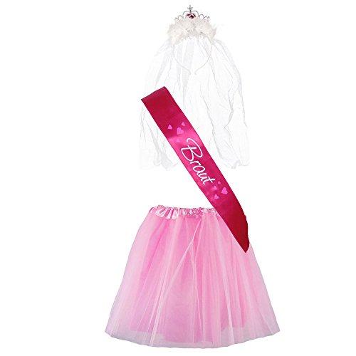 """Für Ideen Frauen 80's Kostüm (JGA-Kostüm """"Braut"""" - Junggesellinnenabschied-Verkleidung (38-44,)"""