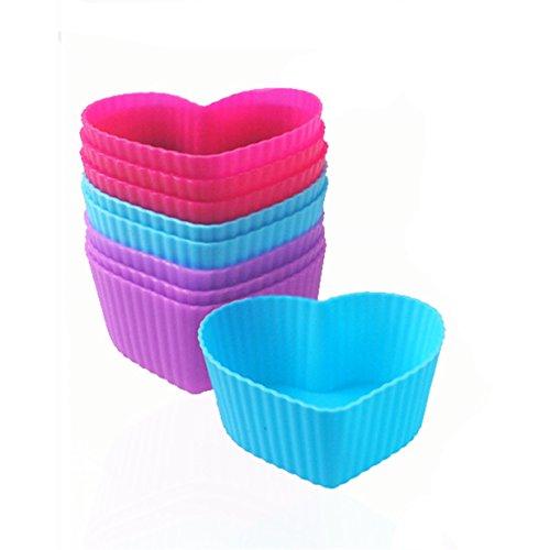 Lalang 8 Stück Herz Silikon Muffinform Muffin Form Kuchen Cup Cake Pudding Gelee Lila,Blau, Rot
