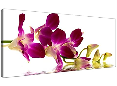 Modern Purple & White Canvas Wall Art of Orchid Flowers