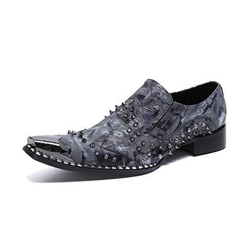Western-leder-schuhe (HMNS Shoes Herren Lederschuhe Metall Spitzschuh Western Cowboy Niet Leder Schuhe Casual Abend Party Hochzeit Uniform Kleid Schuhe grau Größe 39 bis 46,Gray,EU39/UK6)