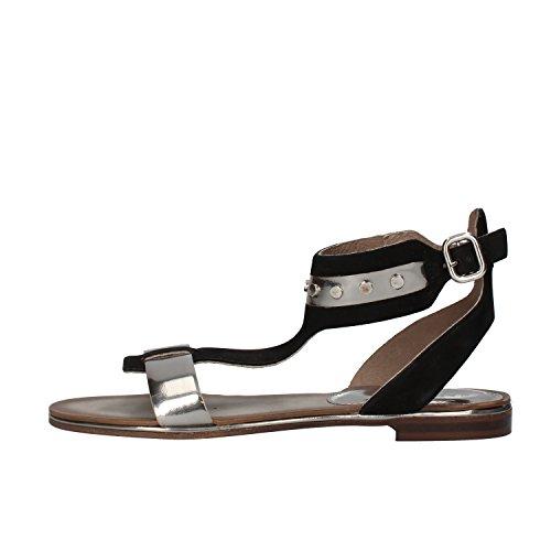 CARMENS sandali donna nero / verde / ghiaccio pelle scamosciata vernice (38 EU, Nero)
