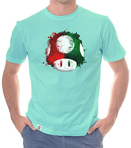 Shirtdepartment - Herren T-Shirt - Super Mario - Pilz türkis-rot M
