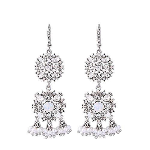 QYMX Ohrring Frauen, Klarer Kristall Blume Nachahmung Perle Großen Kronleuchter Baumeln Ohrringe Braut Charme Hochzeit Ohrringe Frauen Modeschmuck -