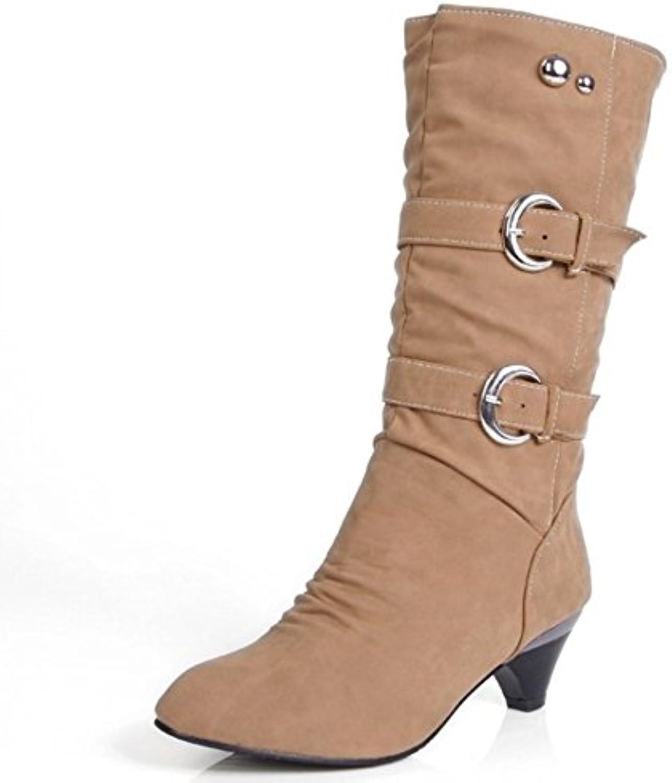 Coolcept Mujer Casual Botas con Tacon Medio Sin Cordones Zapatos Cinturon