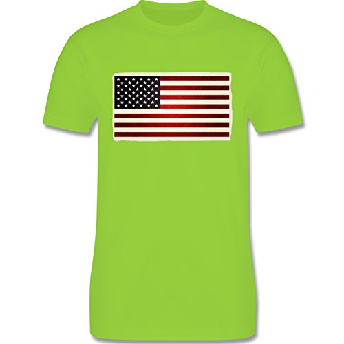 Kontinente - Flagge USA - Herren Premium T-Shirt Hellgrün