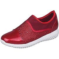 Zapatos mujer casual slip on,Sonnena ❤️ Zapatos de tejido elástico para mujer al aire libre Zapatos de suela cómodos casuales Correr calzado deportivo