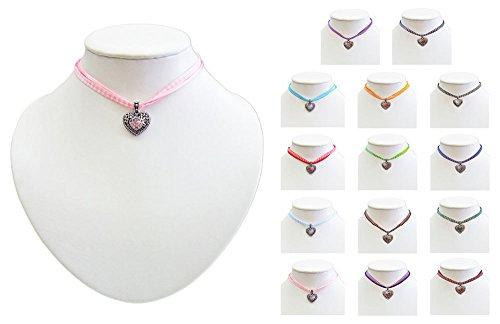 Kinder Trachten Halskette kariert mit Herz Anhänger – Süßer Schmuck für Mädchen zu Dirndl und Kleidern