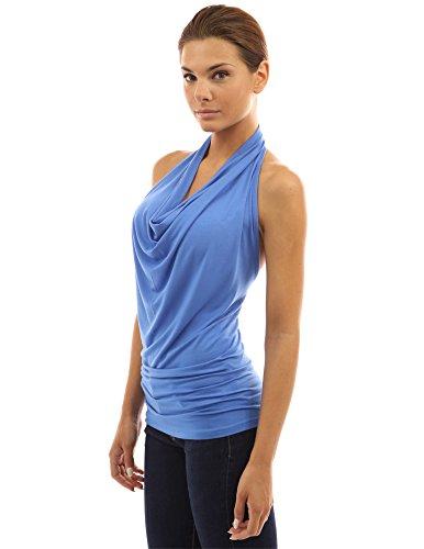 PattyBoutik femmes top à licou drapé Bleu