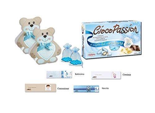 Kit scatoline porta confetti orsetto 40 pz orsetta bomboniere segnaposto bambini (set celeste 14939)