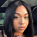 ShowJarlly 150% densité courte dentelle avant perruques de cheveux humains Bob perruque 13 * 4 pour les femmes noires couleur naturelle brésilienne cheveux remy (8in)