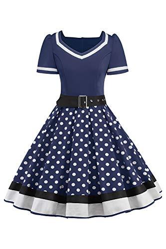MisShow Damen elegant 50er Jahre Petticoat Kleider Gepunkte Rockabilly Kleider Cocktailkleider, Navyblau, XXL - Navy Blauen Kleid Schuh
