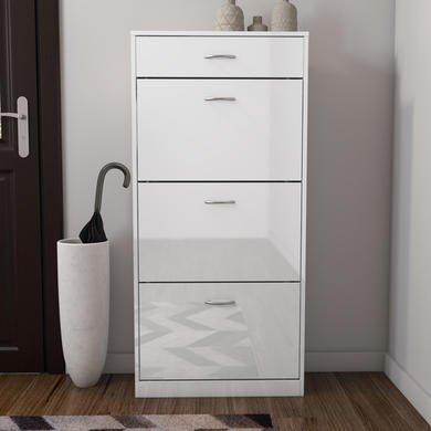 Torino Tall Shoe Cabinet in White High Gloss 4 Drawer -18 Pairs