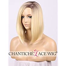 Chantiche Halloween Brown Roots Ombre Blonde Wig Cheap Short Bob Wigs for Women Side Part Straight Hair Synthetic Wig Machine Made Heat Resistant