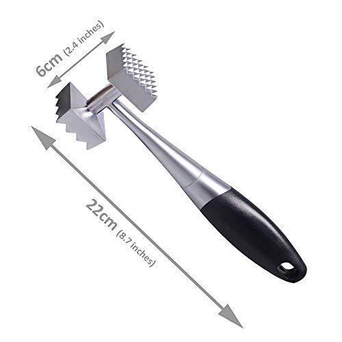 Simpa® Edelstahl Fleischklopfer Mallet Hammer 22cm (22,1cm) Leichtes Design mit ergonomischer Griff Spülmaschinenfest. Ideal für Huhn, Steak, Rindfleisch, und andere Robust Schnitte von Fleisch.