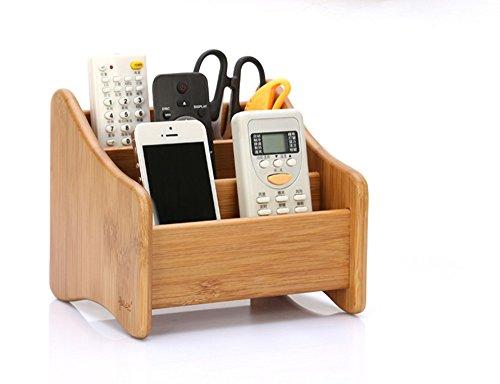RoseFlower® Aufbewahrungsstände Fernbedienungshalter Schreibtischorganizer Bambus - TV Fernbedienung Halterung Desktop Bürobedarf Aufbewahrungsbox für Brillen, Smartphones, Controller, CDs#1