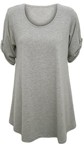 Womens Plus Size Scoop Neck Short Sleeve Flared Ladies Long Plain Top - Grey - 22 / 24