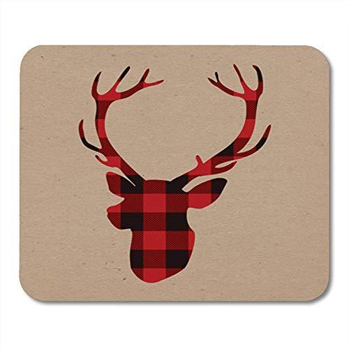 ads, Gaming Mauspads, Red Christmas Lumberjack Deer on Craft Antler Black 11.8