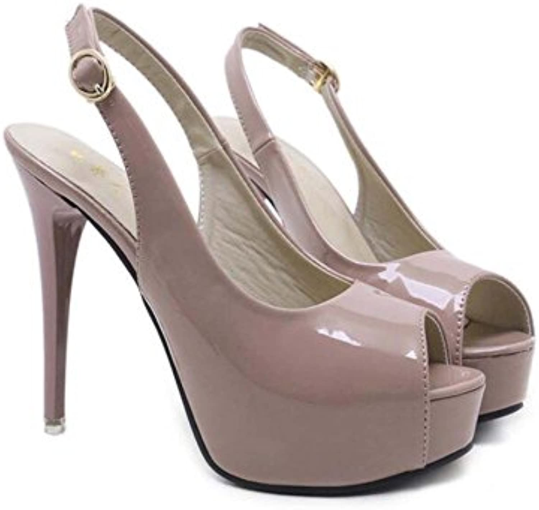 Onfly 13 cm Stiletto Peep Toe Slingbacks Sandalias Zapatos de Boda Mujeres Bomba Pure Color Belt Buckle Zapatos...