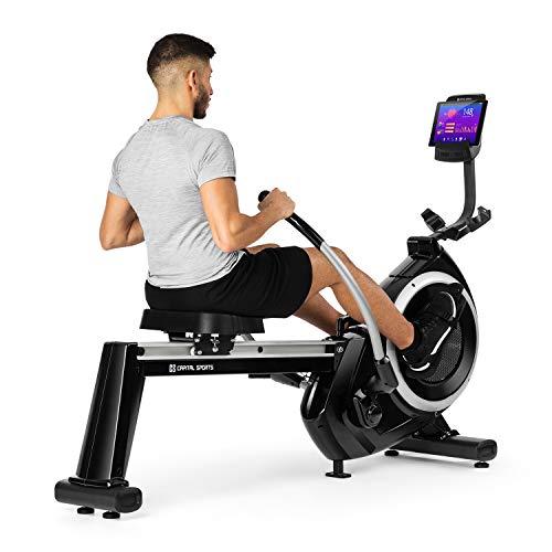 Capital Sports The Skyf Rudergerät Ruderbank Rowing Machine • hocheffizientes Training • 16-stufiger Magnetwiderstand • 90 cm Lange Aluminium-Gleitbahn • Tablethalterung • Trainingscomputer • schwarz