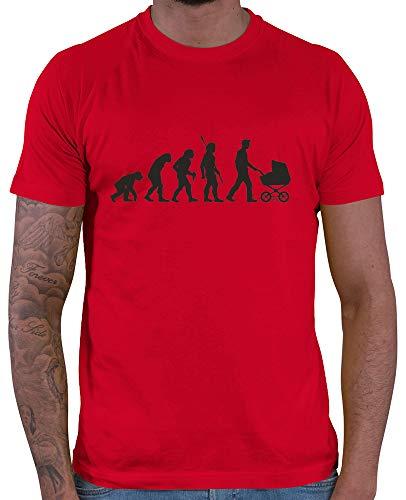 HARIZ  Herren T-Shirt Papa Evolution 2 Männer Vater Vatertag zur Geburt Inkl. Geschenk Karte Rot M