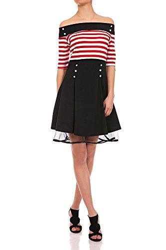 Laeticia Dreams Damen Matrosen Pin Up Petticoat Rockabilly Kleid 50er S M L XL Weiß/Rot Streifen