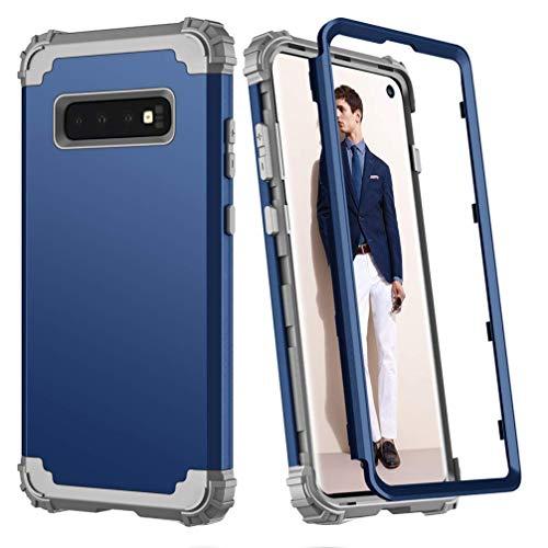 Hülle für Galaxy S10 Plus 3 in 1 PC+TPU 360 Grad Voll Schutz Full Body Bumper Handy-Hülle Case Back Cover für Galaxy S10 (Blau, Galaxy S10 Plus) Blau Back Cover